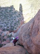 Rock Climbing Photo: Kat follows the wide second pitch of Fast Draw on ...