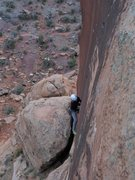 Rock Climbing Photo: Kat battles it out for a jam elbow deep into the c...