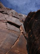 Rock Climbing Photo: Kat getting close to the top of P1 on Desert Solit...