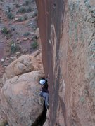 Rock Climbing Photo: Kat pulling through the horizontal section of the ...