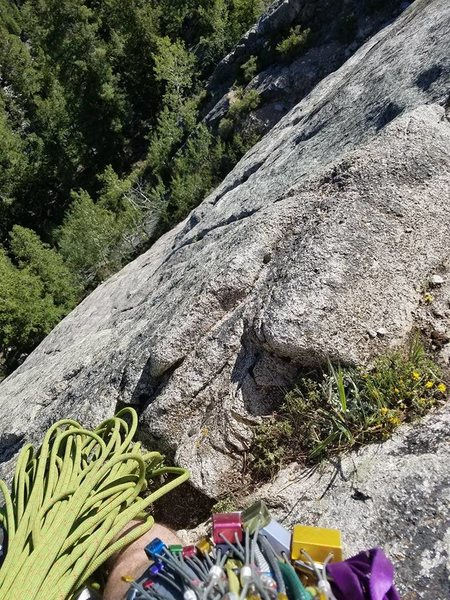 Rock Climbing Photo: Looking down, fun route. Had a hard time finding t...