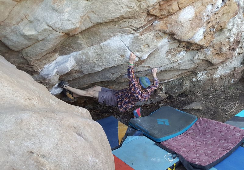 Rock Climbing Photo: Max Green making moves into the finger lock
