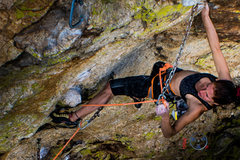 "Rock Climbing Photo: Katch clipping before entering crux zone on ""..."