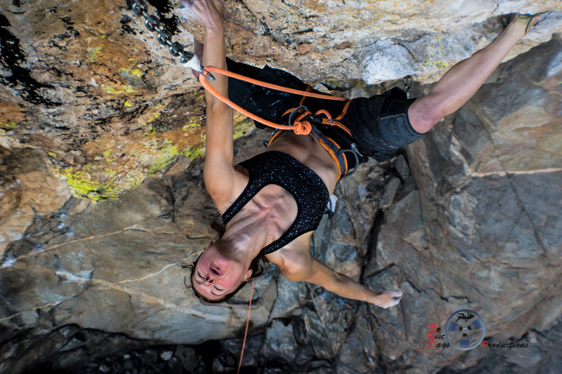 """Rock Climbing Photo: Katch resting before her """"nemesis"""" moves"""