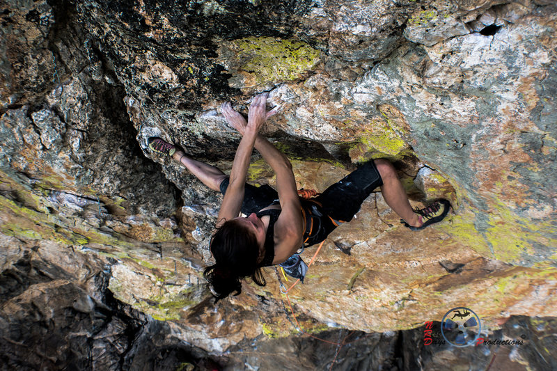 Rock Climbing Photo: Katch on the last crux a bit crossed up, but super...
