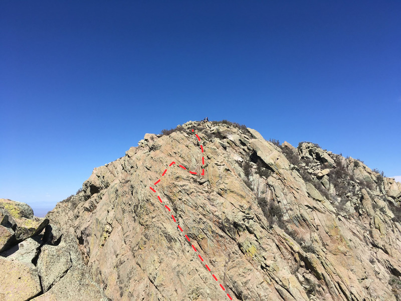 Rough topo of the route, as viewed from the Retaining Wall. Note the hikers on Organ Needle summit.