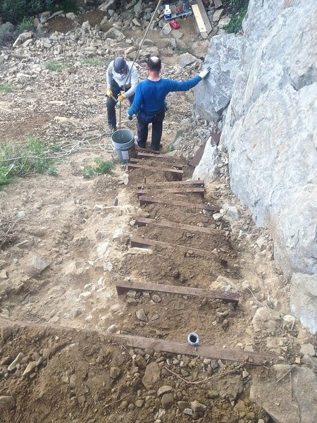 Tick Rock Restoration Project. The Climbing community really came through with donations and volunteers to rebuild after the storm.<br> <br> New Stairs and ledge.