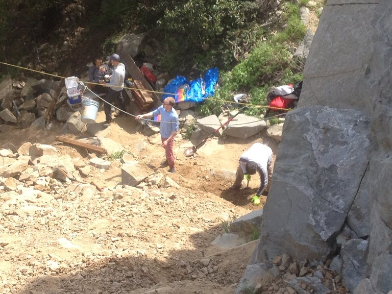 Rock Climbing Photo: Digging out the main climbing area and repairing t...