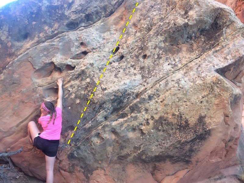 Rock Climbing Photo: Carolyn susses out the start of Worth Nebraska (V1...