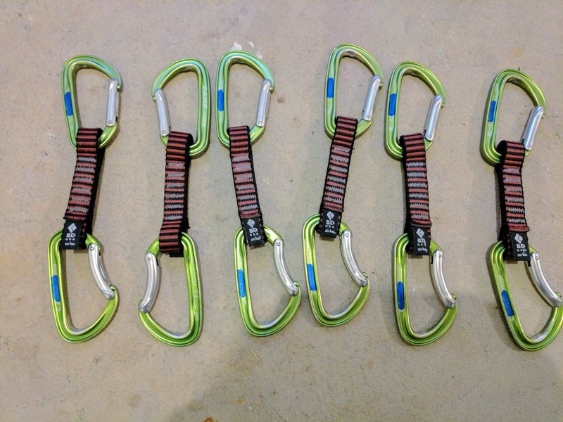 Quickdraws: CAMP Photon (Straight & Bent Gates   These photon carabiners are super light) on BD Dogbones. ($70 for the set)