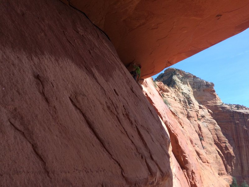 """Rock Climbing Photo: Bob near the end of """"the great woof"""" tra..."""