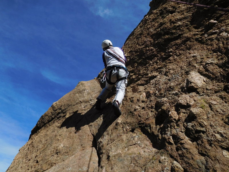 Rock Climbing Photo: Working the crux moves on Capt. Morgan's.