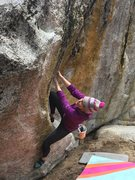 Rock Climbing Photo: Short Tom, after the sit start, before the lunge l...