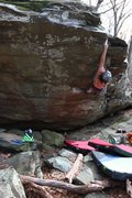 Rock Climbing Photo: Ben Wright making the span to the top of Unknown V...