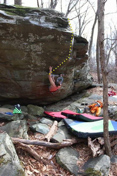 Rock Climbing Photo: Ben on the start moves of Unknown V4