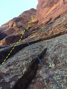 Rock Climbing Photo: Line we took for the first pitch( Ends at massive ...