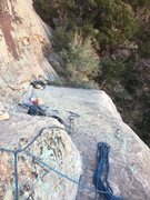Rock Climbing Photo: Looking from base of route to belay ledge