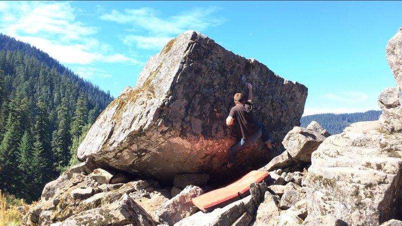 Rock Climbing Photo: DVQ Climbing the White Squirrel Boulder, Sept. 201...