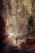 Noah Stevens climbing his route 'Half As Cool As You'.