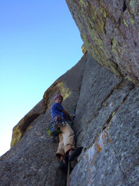 Rock Climbing Photo: Starting up the money pitch. So good!