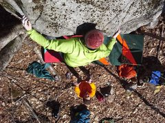 Rock Climbing Photo: Dave Russo on hold the door on the Roadside Boulde...