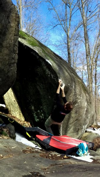 Rock Climbing Photo: Hitting the pinch on Number Two