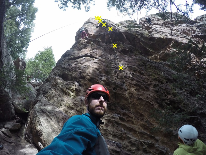 Nearing the anchors (climber on the right).  Also, a selfie.  Added so there would be a photo of the route.