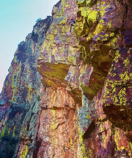 Rock Climbing Photo: Moving on up. Climbing partner Bobby flying throug...