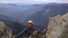 Rock Climbing Photo: Topping out on CRS, Moro Rock in the background.