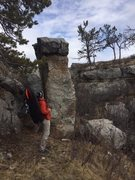 Rock Climbing Photo: up the skinny side