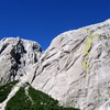 Cerro Espejo. TTLG starts about halfway up the right leaning approach ramp - the first set of RF corners marks the route