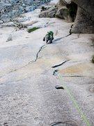 Rock Climbing Photo: Natalie Brechtel following the splitter P2 of Thro...