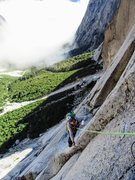 Rock Climbing Photo: Natalie Brechtel wrestling the arete on P5 of Thro...