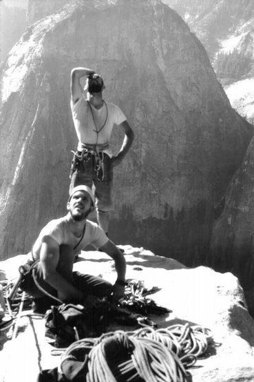 El Cap Spire, first ascent Salathe Wall, 1960. Royal Robbins and Chuck Pratt.