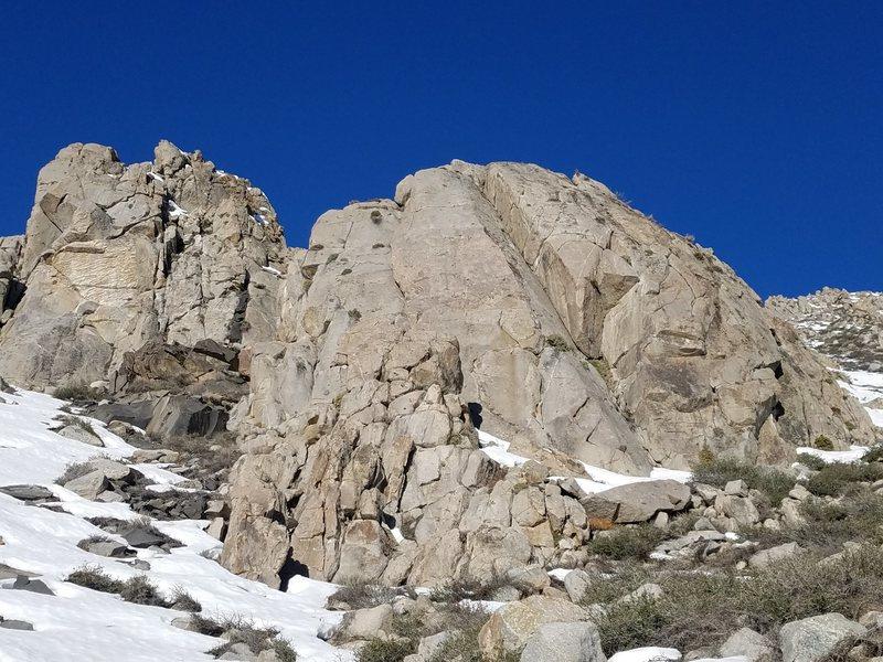 A couple crags near the entrance of Elderberry Canyon.