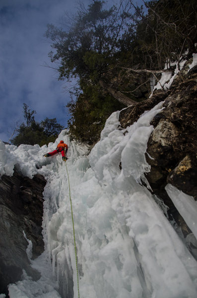 Sebi Cron seconding at the crux of P3.  Ice was sketchy to say the least.