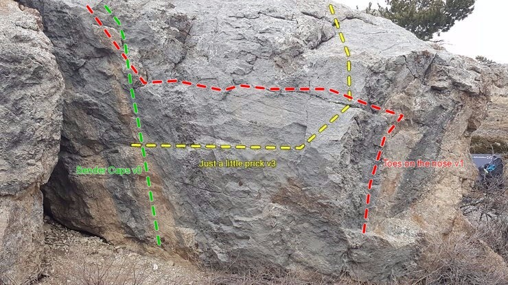 """Overview of three routes on """"Little Prick"""" boulder"""