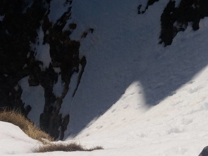 Rock Climbing Photo: steep snow at the end of the second pitch
