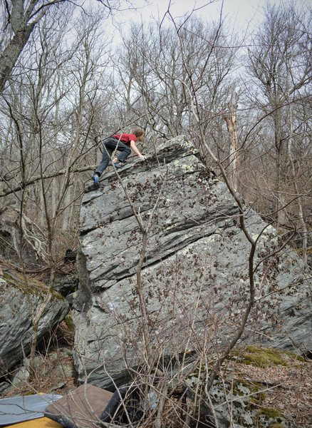 Rock Climbing Photo: Tyler Hoskinson topping out Follow The Rain