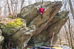 Rock Climbing Photo: Aaron Parlier at the top of Moonlight Sonata