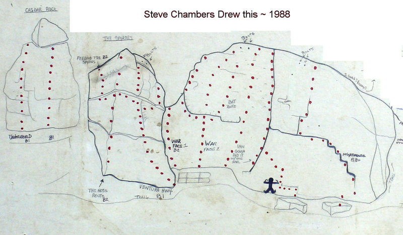 Steve chambers and I climbed here long ago. He drew many routes from this area on a piece of drywall. I added the Bolt locations and a couple of updates. Enjoy!