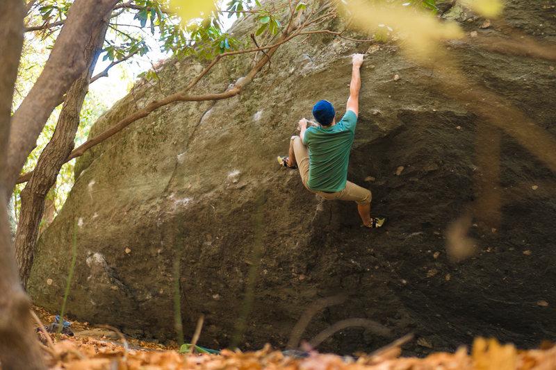 Rock Climbing Photo: Bryan Caviness sending God Delusion V3 on Olympus ...