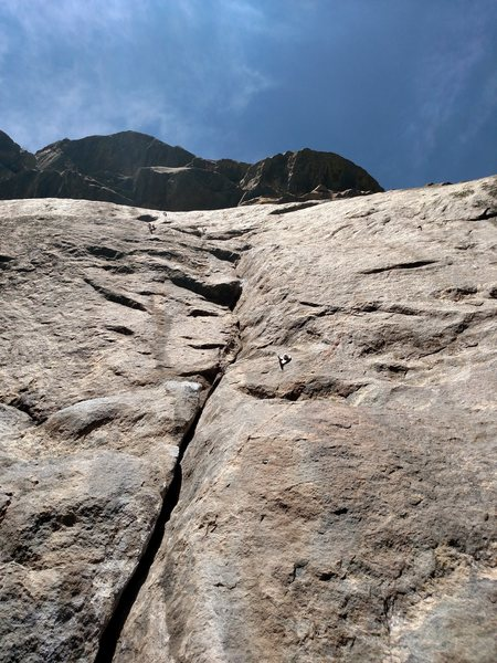 The start of Rhett-Wench, the crux is at 4th bolt in the image.