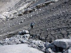 Rock Climbing Photo: Approach across the glacier to Bügeleisen