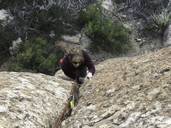 "Rock Climbing Photo: Heidi seconding ""Unknown bolt AND a crack&quo..."