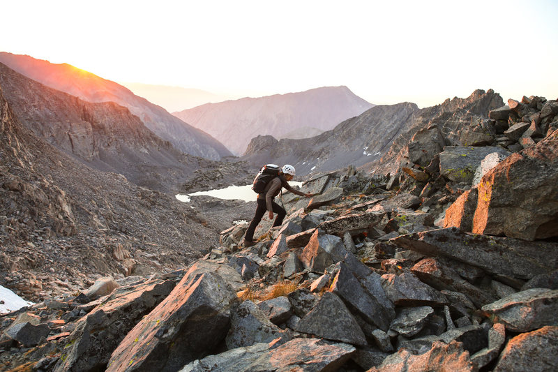 Sunrise on the 3rd class scramble to the base of the climb.