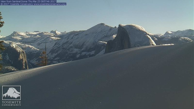 Half Dome web cam 3/23/17, another foot to 2 feet of snow expected over the weekend.