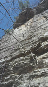 Rock Climbing Photo: Climb straight up to the roof then step right to b...