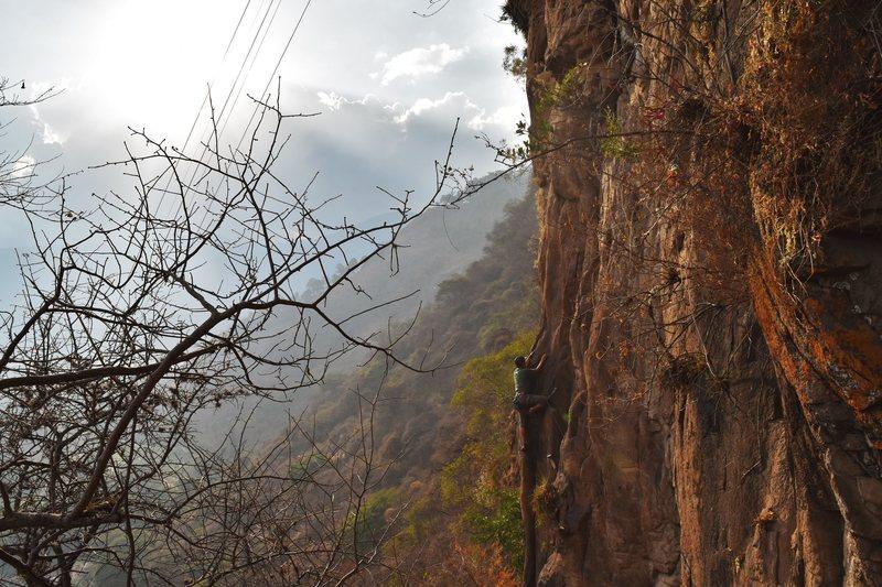 Rock Climbing Photo: Kenny Sierra halfway up balcon.