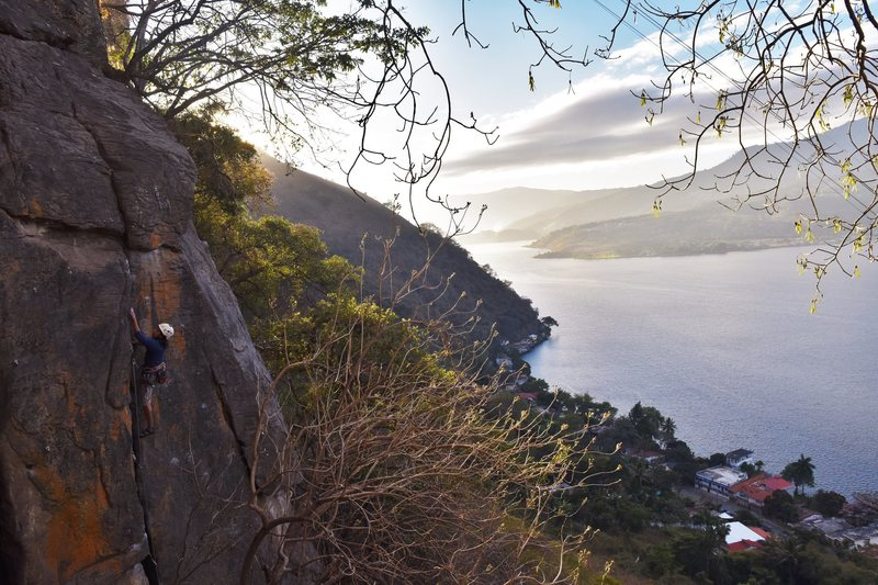 Rock Climbing Photo: Frijol getting to the top of Manos Arriba